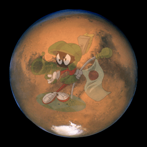 Hubble image of Mars with Marvin superimposed