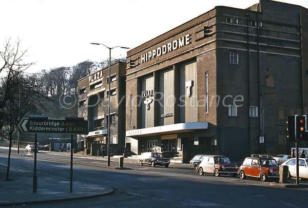 The Dudley Hippodrome in 1978, with the Plaza Cinema alongside. © David Rostance