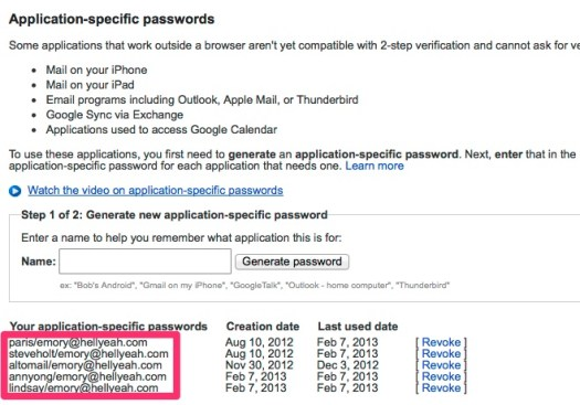 What your Application-Specific Passwords List Might Look Like