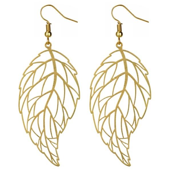 Golden wave leaf earrings