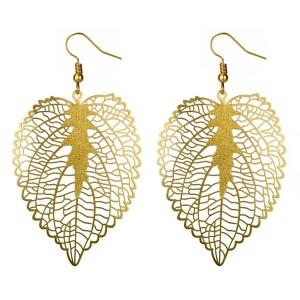 Golden heart leaf earrings