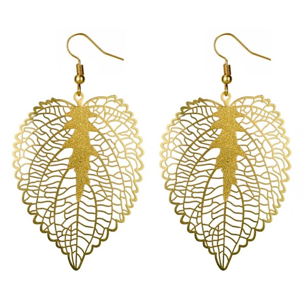 Golden heart leaf earrings