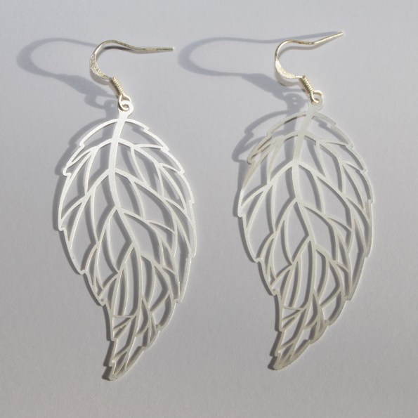Silver tone wave leaf earrings