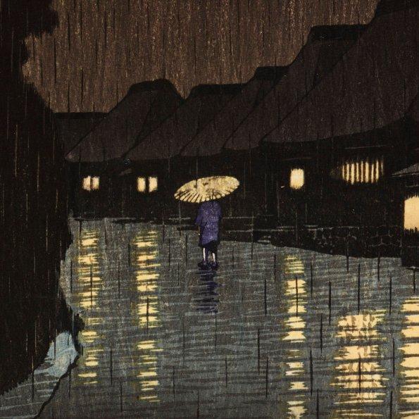 Detail: Rain at Maekawa, Sochu Kawese Hasui 1932