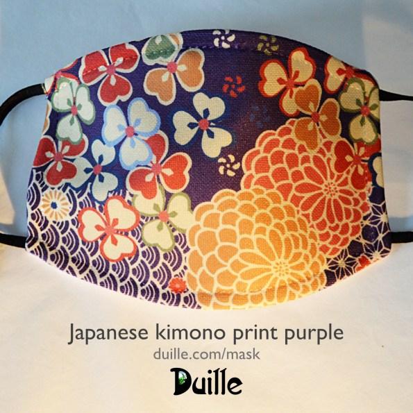 Japanese kimono print mask - purple