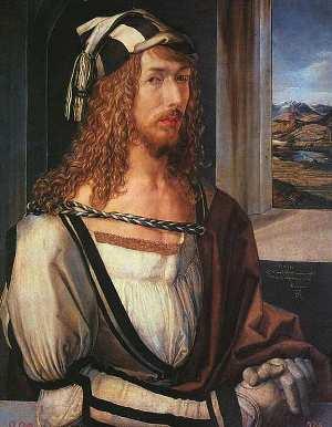 Albrecht Dürer - zelfportret. Let ook op het uitzicht door het raam: het landschap is in perspectief geschilderd.