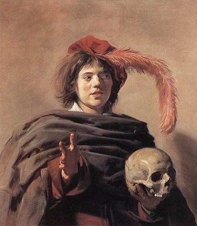 Man met schedel. Schilderij van Frans Hals, geschilderd rond 1627.