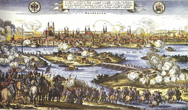 De inname van Magdeburg door de keizerlijke troepen in 1631 werd een belangrijk symbool voor de verschrikkingen van de oorlog. De stad werd in brand gestoken en de bevolking grotendeels uitgemoord. Gravure van Johann Philipp Abelin, uit 1659.