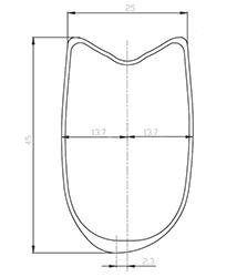 Section jante BACCARA 45 T Asymétrie
