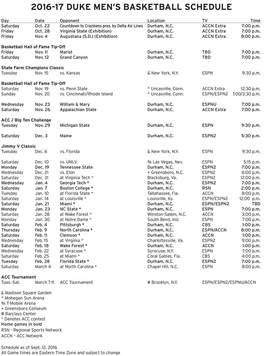 image regarding Syracuse Basketball Schedule Printable referred to as Duke ACC Agenda Established - DukeBlog