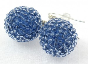Blue beaded berry earrings