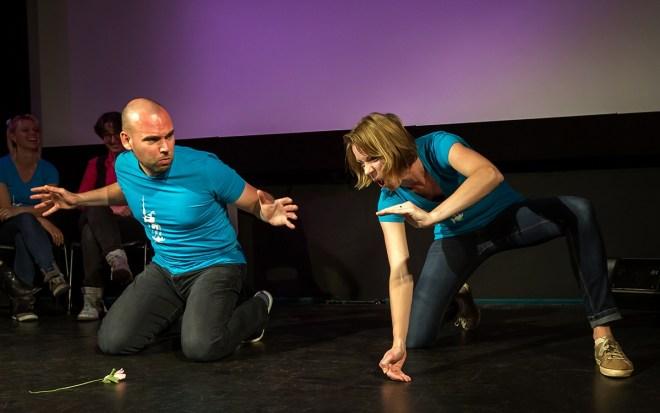 Gedenkwaardige scene uit een voorstelling van Dulcinea Theatersport uit Eindhoven