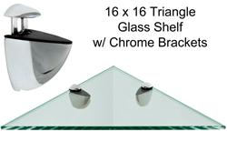 Triangle Glass Shelf 16 X 16 WChrome Brackets