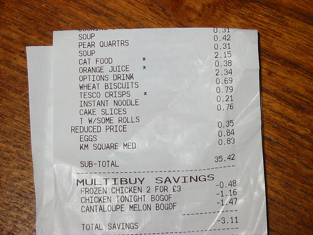 Receipt - Photo by Nick Adams