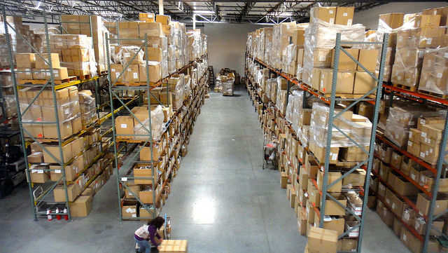Stock in boxes in warehouse