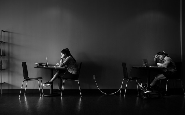Coffee shop - girl on laptop