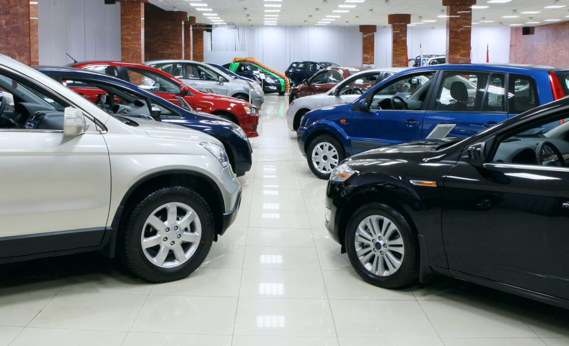 Car Lot. Cars for Sale. Car showroom