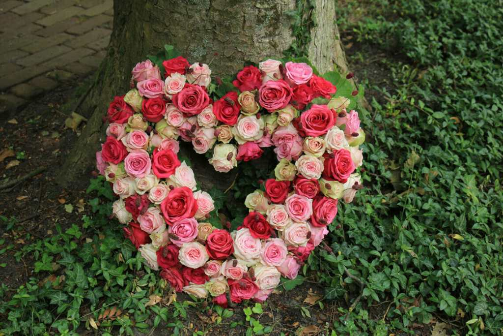 Heart shaped wreath layed against tree