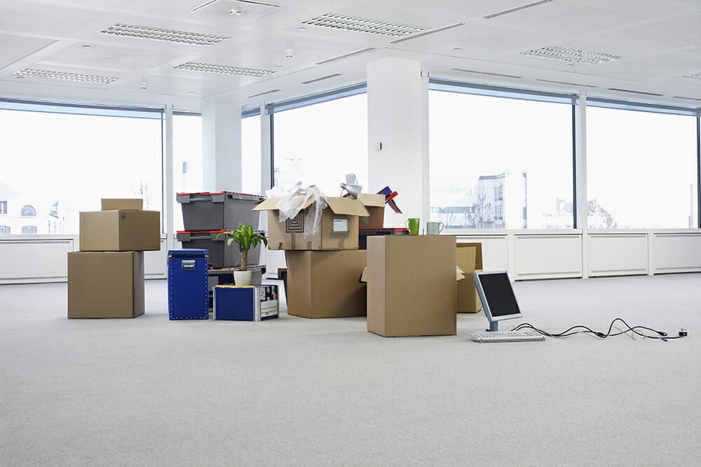 Empty Office With Storage Boxes