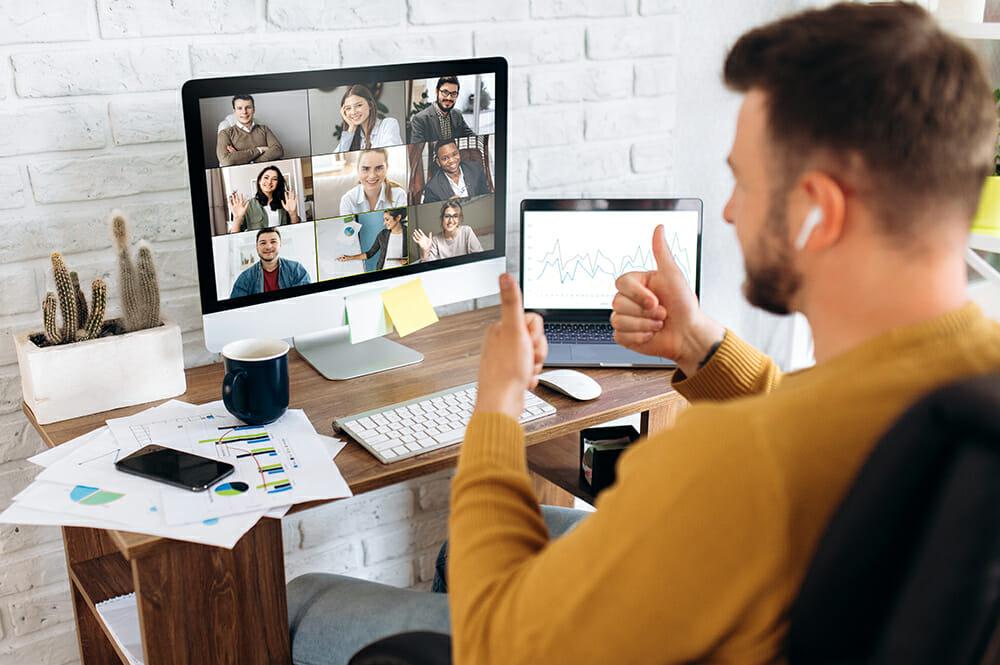 Man using zoom or skype for meeting/work