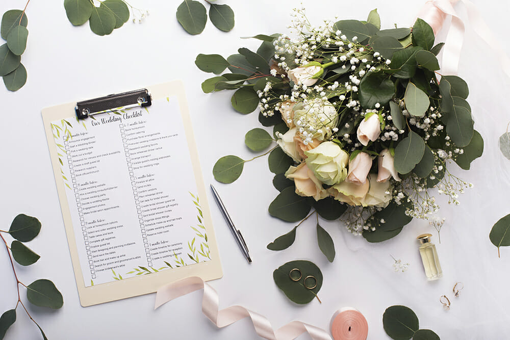 Wedding plan and wedding bouquet of flowers