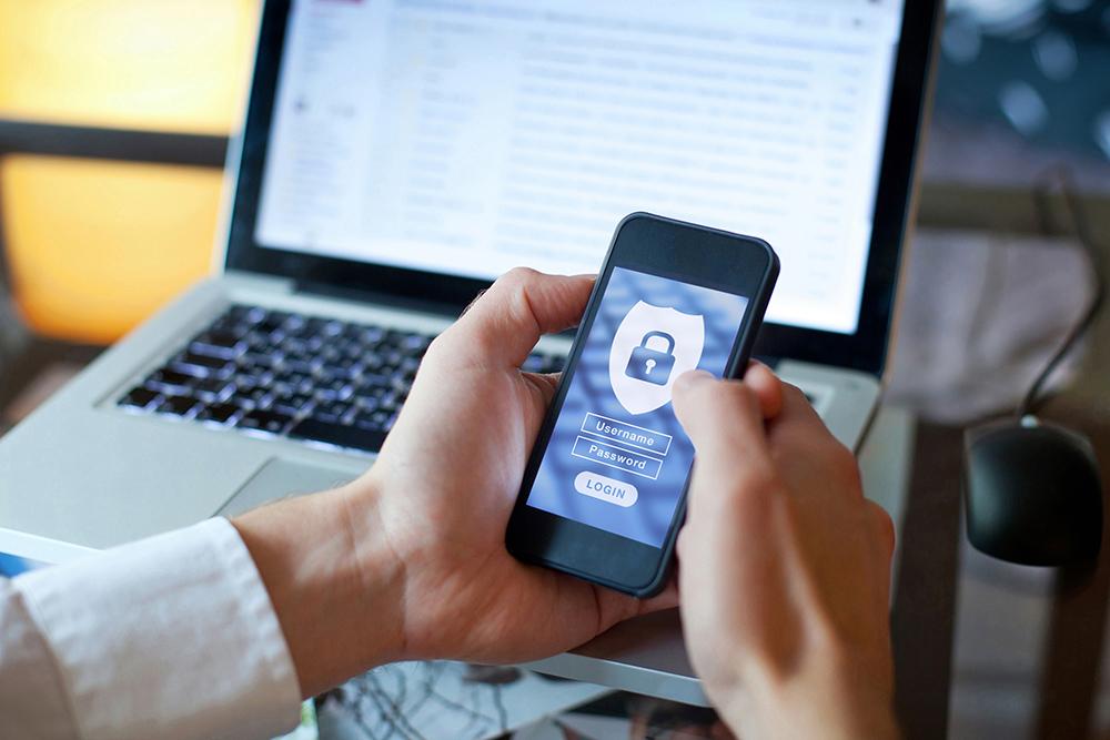Secure login on phone. Using laptop