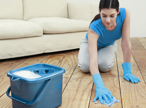 Cleaning the floor after a flood