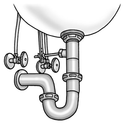 how to install the p trap under a sink
