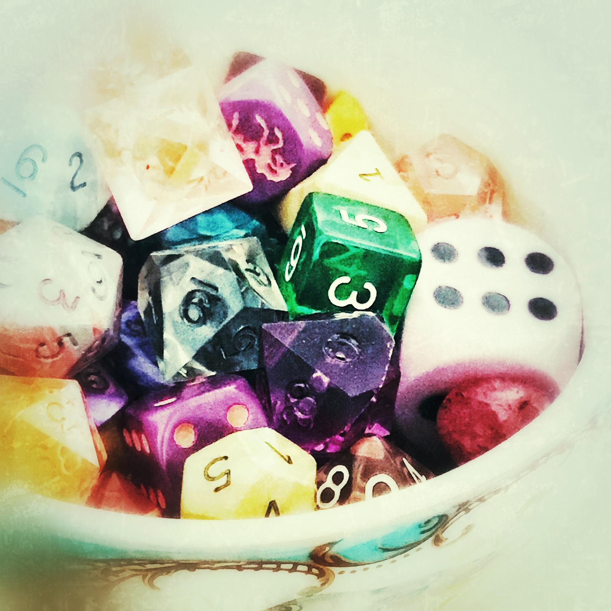 bowl of colorful RPG Dice