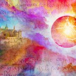 fantasy landscape with colorful clouds, a castle and an exploding sphere