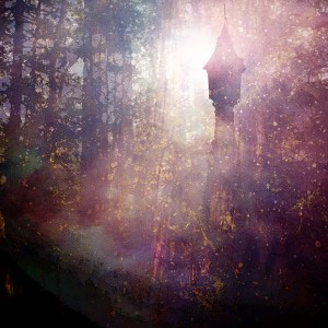 digitally altered photo of tower in the woods