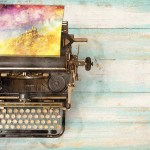 Vintage typewriter with a fantasy picture coming out