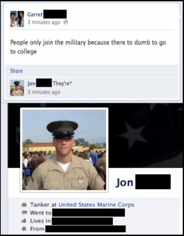 4 dumb things posted on facebook, military funny spelling corrections