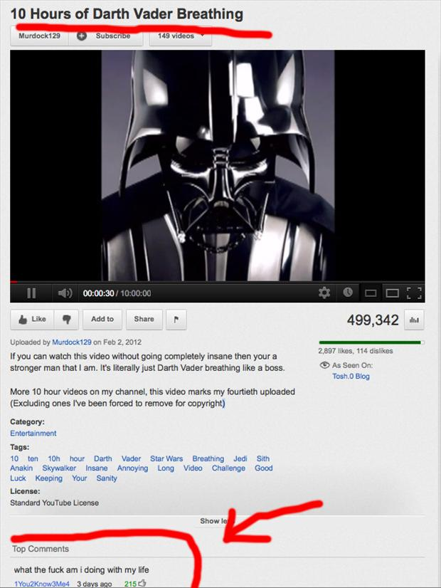 darth vader breathing video, funny youtube comments