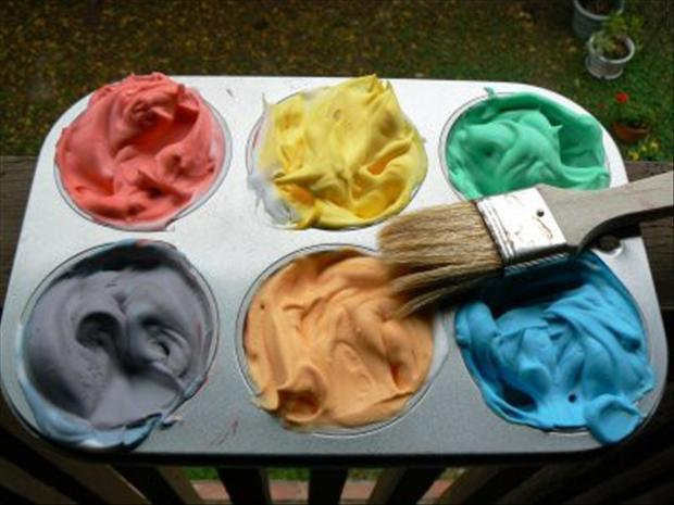 shaving cream and food coloring make a good bathtub paint, fun crafts