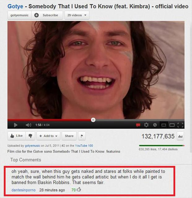 somebody that i used to know, funny youtube comments