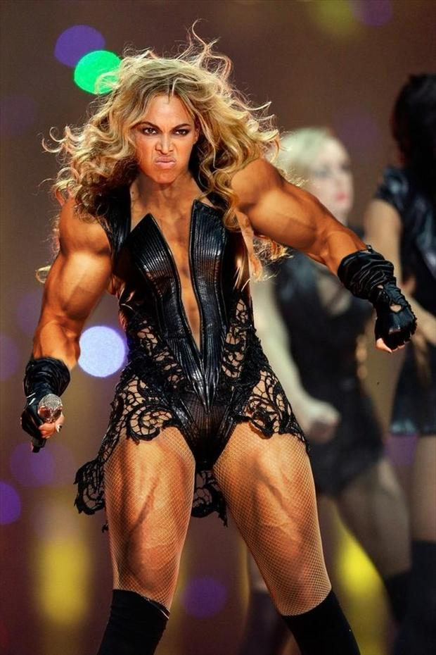 funny beyonce superbowl pictures, muscles