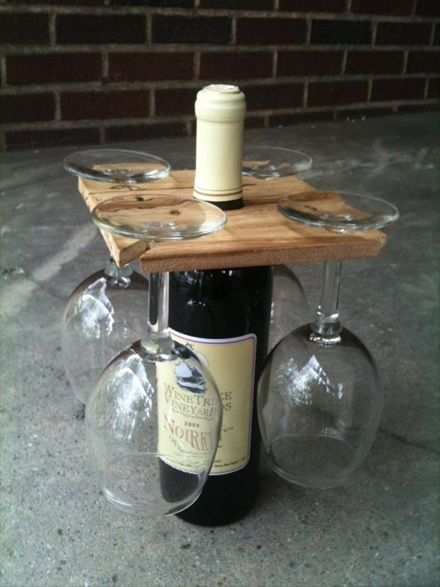 A wine bottle and glass holder