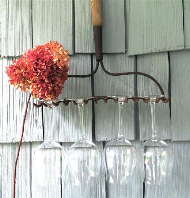 old rake to hold wine glasses