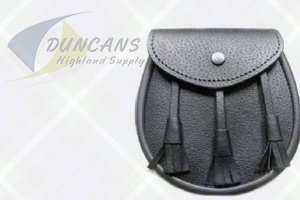 Leather Sporran with Flat Tassels