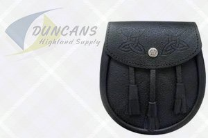 Leather Sporran With Celtic Embossed Flap