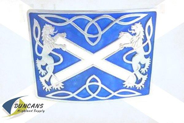 Highland Saltire Blue Buckle - Chrome