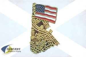 U.S.A. Flag and Bagpipes Pin