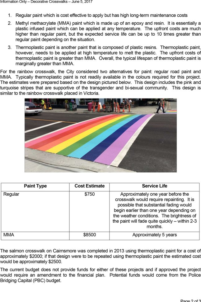 City of Duncan, Decorative Crosswalks Report-5 June 2017, page 2
