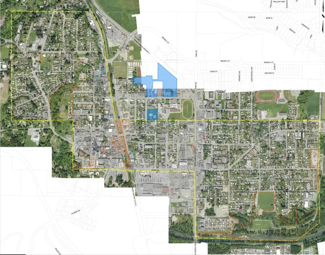 City of Duncan map showing City owned properties in 2009. City of Duncan owed properties shown in orange, co-owned properties shown in blue (courtesy of City of Duncan)