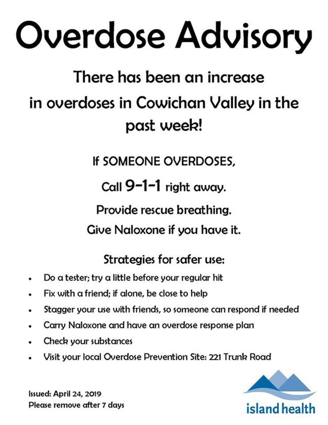 Island Health Overdose Advisory for the Cowichan Valley, released 24 April 2019