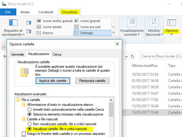 Visualizza file cartelle nascosti windows 10
