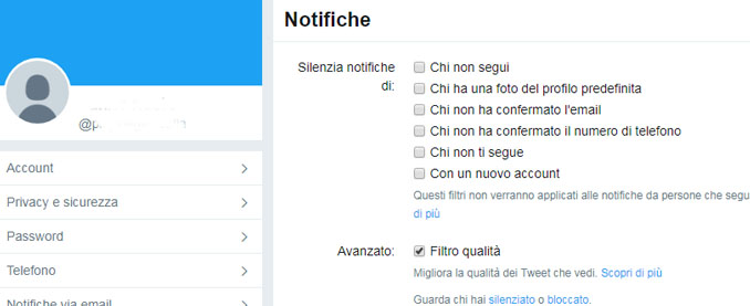 Twitter aggiunge lopzione per silenziare i nuovi account