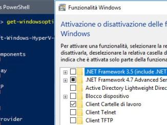 Utilizzare windows powershell per installare le funzionalità