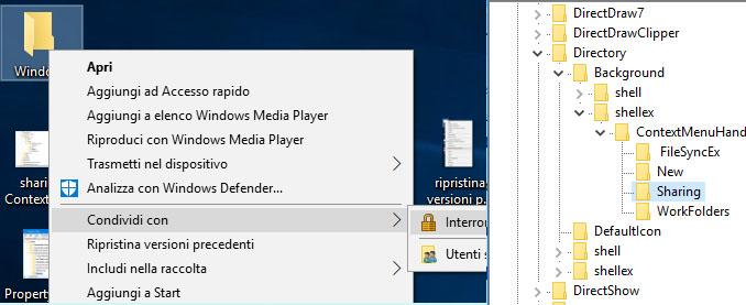 Windows 10 rimuovere condividi con dal menù contestuale